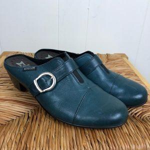 Mephisto Teal Leather Heeled Clogs Sz 7 1/2
